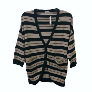 Madewell Wallace Striped 3/4 Sleeve Cardigan